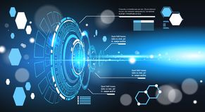 Set Of Computer Futuristic Infographic Elements Tech Abstract Background Template Charts And Graph, Banner With Copy Stock Image