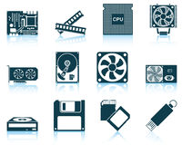 Set of computer hardware icons Stock Photography