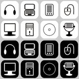 Set with computer icons. On lack and white Stock Images