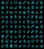 Set of computer icons. A background of blue icons for computer websites Stock Image
