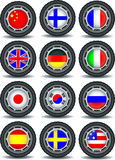 Set of computer icons with flags on the tire Stock Photo