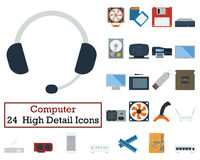 Set of 24 Computer Icons Stock Photography