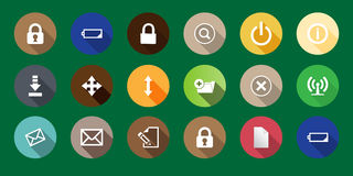 Set of computer icons in a flat design. long shadows Royalty Free Stock Photo