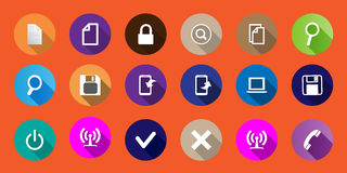 Set of computer icons in a flat design. long shadows Royalty Free Stock Images