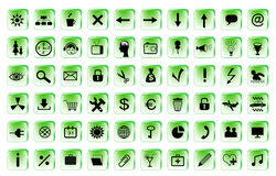 Set of 60 computer icons for your website. In green border Stock Illustration