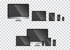Set of computer monitor, laptop, tablet, mobile phones smart phone.  illustration Royalty Free Stock Photo