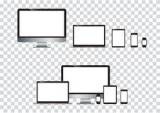 Set of computer monitor, laptop, tablet, mobile phones smart phone.  illustration. Set of computer monitor, laptop, tablet, mobile phones smart phone. Electronic Stock Image