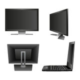 Set Computer Monitor Notebook Laptop, Television Backside. Icon Vector Illustration. Royalty Free Stock Photo