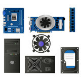 Set of computer parts Stock Image