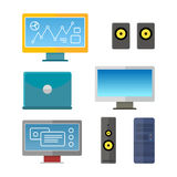 Set of Computer Peripherals Illustrations. Royalty Free Stock Photo