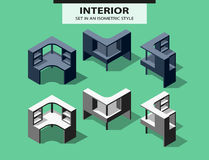 Set of computer tables in isometric style Royalty Free Stock Image