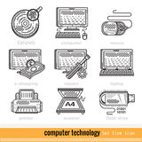 Set of Computer Technology Outline Web Icons Royalty Free Stock Photo
