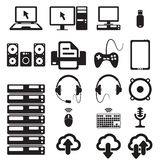 Set of computers and hardware icons Stock Photo