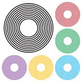 Set of concentric circles geometric element. Black and colorful version. Vector. Illustration royalty free illustration