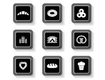 Set of concept bakery products buttons Royalty Free Stock Images