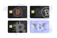 Set concept of a bank card bitcoin. vector illustration