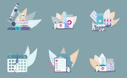 Set of concept of clinic stock illustration
