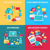 Set of concept flat designs for data services Stock Image
