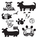 Set of concept hand drawn icons logo template with dogs . Vector illustration Royalty Free Stock Image