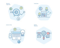 Set of concept line icons for business plan and objectives, market research, investment. UI/UX kit for web design, applications, mobile interface, infographics Royalty Free Stock Images