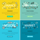 Set of Conceptual Business Vector Web Banners. Set of conceptual business web banners. Finance and Team work internet templates. Vision and market colorful Royalty Free Stock Photography