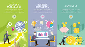 Set of Conceptual Business Vector Web Banners. Strategic management, business consulting, investment vector web banners. Increasing capital and profits. Success Royalty Free Stock Photos