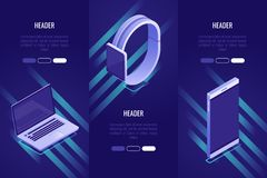 Set of 3 conceptual headings about mobile devices. Landing page template for selling mobile devices. Isometric style royalty free illustration