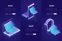 Set of 3 conceptual headings. Online books shop, digital library concept. Laptop and mobile devices with books inside. Vector illustration in Isometric style Stock Image