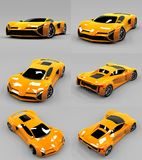Set conceptual high-speed orange sports car. Gray uniform background. Glare and softer shadows. 3d rendering. Set conceptual high-speed orange sports car. Gray Stock Photography