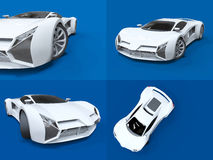 Set conceptual high-speed white sports car. Blue uniform background. Glare and softer shadows. 3d rendering. Set conceptual high-speed white sports car. Blue Royalty Free Stock Photography