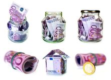 Set of conceptual images currency european union, euro money Royalty Free Stock Photo