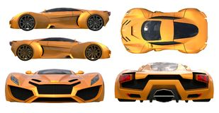 Set conceptual orange racing cars. 3d illustration. Set conceptual orange racing cars. 3d illustration Royalty Free Stock Images