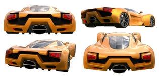 Set conceptual orange racing cars. 3d illustration. Set conceptual orange racing cars. 3d illustration Stock Photos