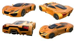 Set conceptual orange racing cars. 3d illustration. Royalty Free Stock Photography