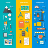 Set of conceptual vertical banners. Concept set of vertical banners tools and objects for geodesy development construction and repairs, flat icons with diagonal Royalty Free Stock Photo