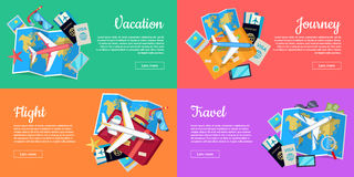 Set of Conceptual Web Banners for Travel Agency Royalty Free Stock Image