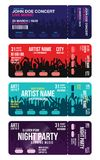 Set of concert ticket templates. Concert, party or festival ticket design template with people crowd on background vector illustration