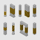 Set of concrete columns and pillars, vector illustration. Set of different shape columns and pillars in an isometric style, isolated on white background. Design Stock Photo