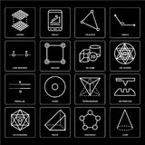 Set of Cone, Pentagon, Octahedron, Tetrahedron, Parallel, 3d cube, Line segment, Triangle, Layers icons. Set Of 16 icons such as Cone, Pentagon, Prism Royalty Free Stock Images