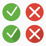 Set of confirm and deny icons with and without shadows stock illustration