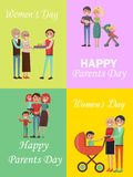Set of Congratulation Cards for Family Holidays Royalty Free Stock Image