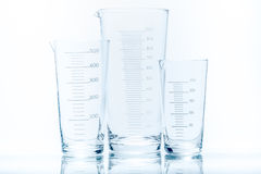 Set of conical beaker for measurements of different capacity Royalty Free Stock Photography
