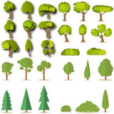 Set of coniferous and deciduous green trees Stock Image