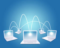 Set of connected laptops Royalty Free Stock Photo