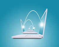 Set of connected laptops Stock Images