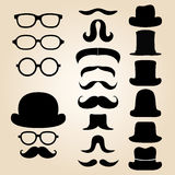 Set consists of a hat, glasses and mustache Stock Image