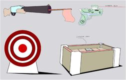 A set consists of several combat items. Among them are a gun with a stick and a rag sticking out of the barrel, a pistol with a laser sight, a target and an vector illustration