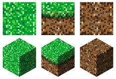 Textures and cubes in minecraft stylegreen-brown grass and earth. The set consists of three textures consisting of pixels:land,grass and grass with the ground royalty free illustration