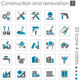 Construction and renovation icons 1. Set #1 of 25 construction and building icons. 4 colors Royalty Free Stock Images