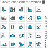 Construction and renovation icons 2. Set #2 of 25 construction and building icons. 4 colors Royalty Free Stock Photography